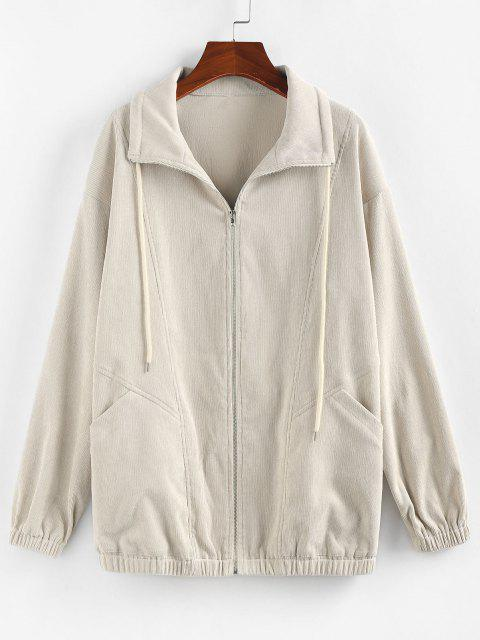 outfits ZAFUL Corduroy Pocket Drop Shoulder Jacket - LIGHT KHAKI S Mobile