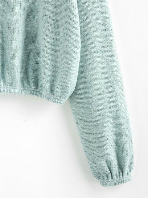 ZAFUL Blusa de Malha Plano com Ombro Caído - Luz verde XL Mobile