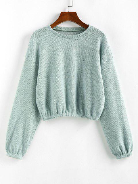 fashion ZAFUL Plain Drop Shoulder Short Knitwear - LIGHT GREEN M Mobile