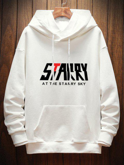 fashion Letter Starry Graphic Drop Shoulder Hoodie - WHITE L Mobile