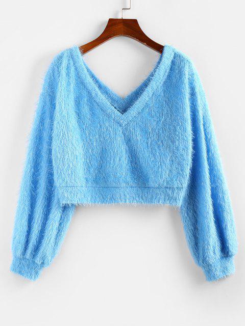 fashion ZAFUL Fuzzy Drop Shoulder Double V Jumper Sweater - DAY SKY BLUE XL Mobile