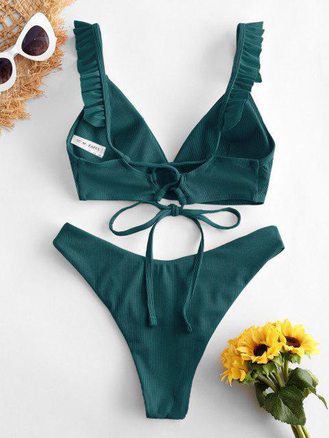 buy ZAFUL Ribbed Lace Up Plunging Ruffle Bikini Swimsuit - DEEP GREEN M Mobile