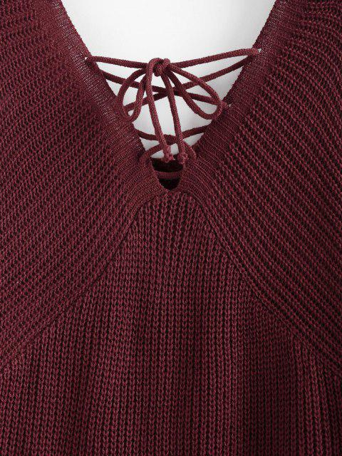 sale ZAFUL Lace Up Plunging Raglan Sleeve Jumper Sweater - DEEP RED M Mobile