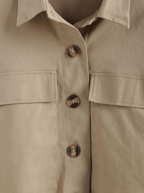 ZAFUL Fallschulter Taschen Crop Jacke - Tan S Mobile