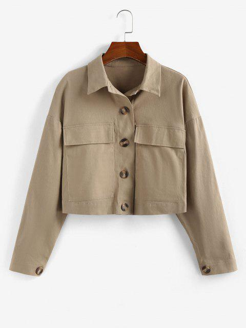 chic ZAFUL Drop Shoulder Pocket Crop Jacket - TAN XL Mobile