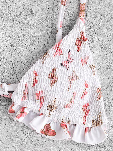 chic ZAFUL Smocked Butterfly Print Ruffle Scrunch Butt Bikini Swimwear - WHITE M Mobile