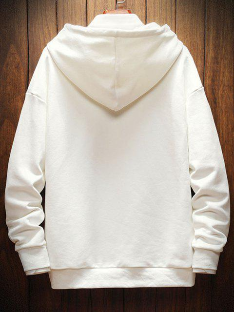 shops Letter Printed Drop Shoulder Hoodie - WHITE 2XL Mobile