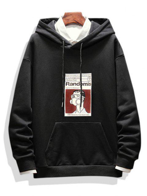ladies Graphic Print Casual Drop Shoulder Hoodie - BLACK L Mobile