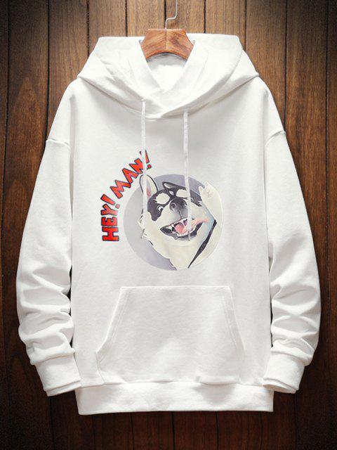 online Dog Letter Graphic Print Drop Shoulder Hoodie - WHITE L Mobile