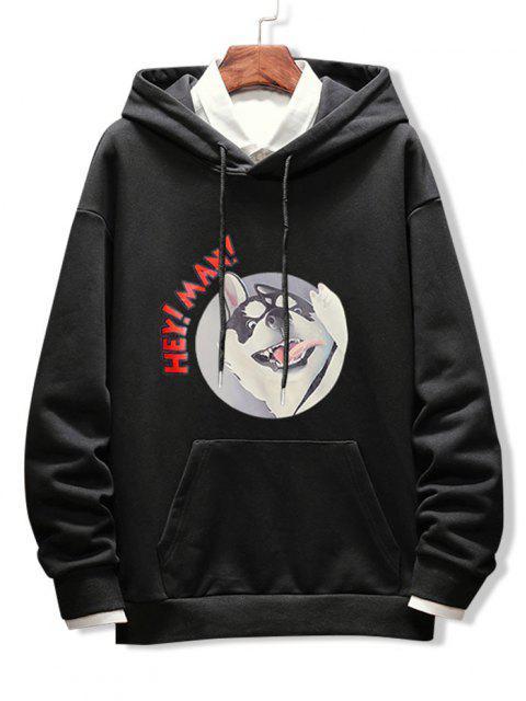 shops Dog Letter Graphic Print Drop Shoulder Hoodie - BLACK L Mobile