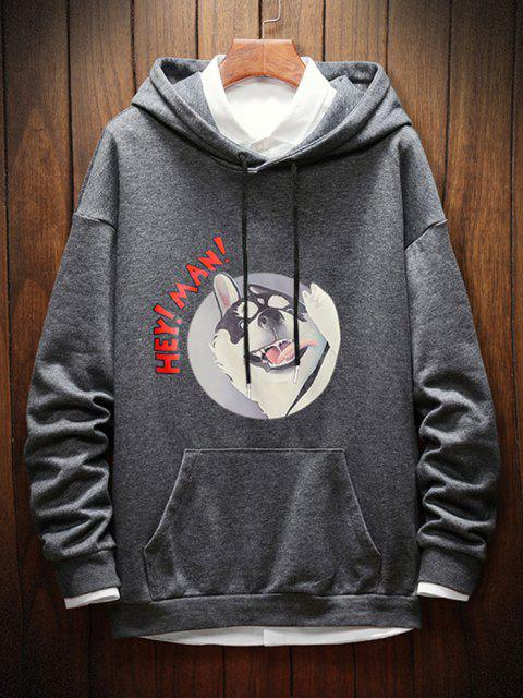 shop Dog Letter Graphic Print Drop Shoulder Hoodie - GRAY XS Mobile