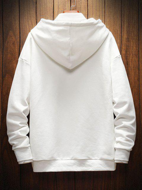 buy Dog Letter Graphic Print Drop Shoulder Hoodie - WHITE M Mobile
