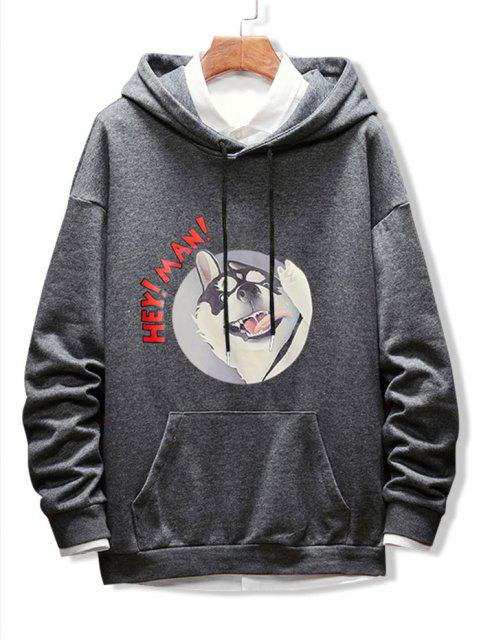 womens Dog Letter Graphic Print Drop Shoulder Hoodie - GRAY M Mobile