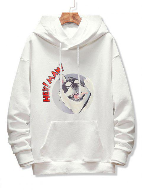 women's Dog Letter Graphic Print Drop Shoulder Hoodie - WHITE XS Mobile