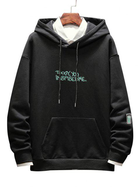 women Letter Drink Print Drop Shoulder Hoodie - BLACK XS Mobile