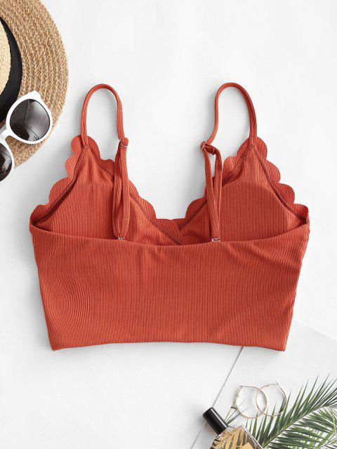 ZAFUL Haut de Bikini Festonné Côtelé Superposé - Orange Foncé L Mobile