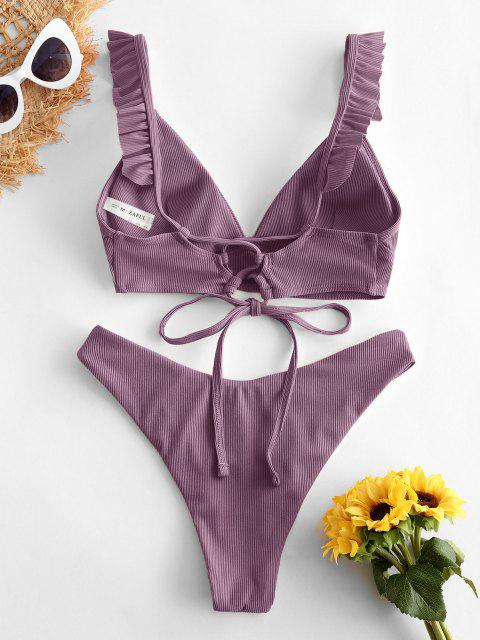 outfit ZAFUL Ribbed Lace Up Plunging Ruffle Bikini Swimsuit - CONCORD M Mobile