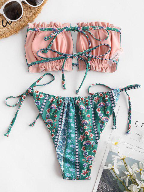 outfits ZAFUL Reversible Bohemian Flower Cutout Bandeau Bikini Swimwear - GREEN L Mobile