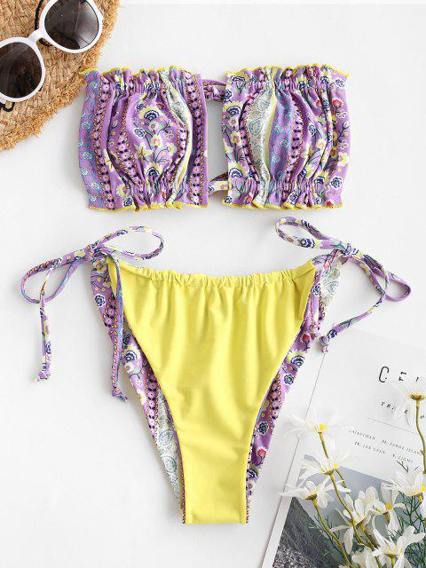 sale ZAFUL Reversible Bohemian Flower Cutout Bandeau Bikini Swimwear - PURPLE M Mobile