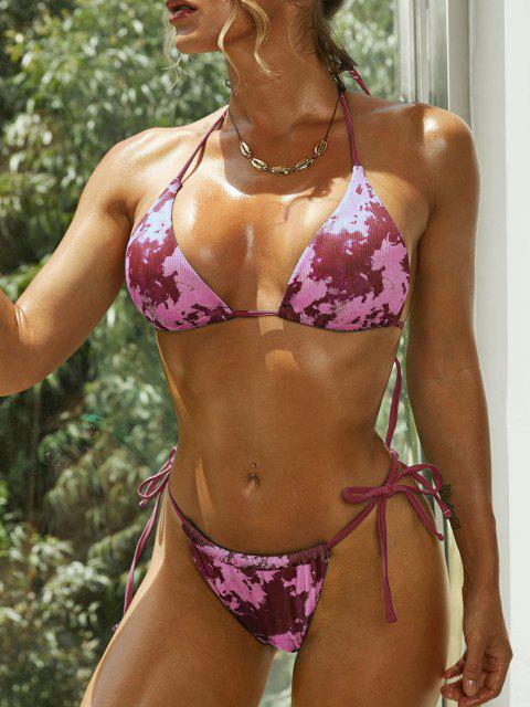 womens ZAFUL Ribbed Tie Dye Halter String Bikini Swimwear - RED S Mobile