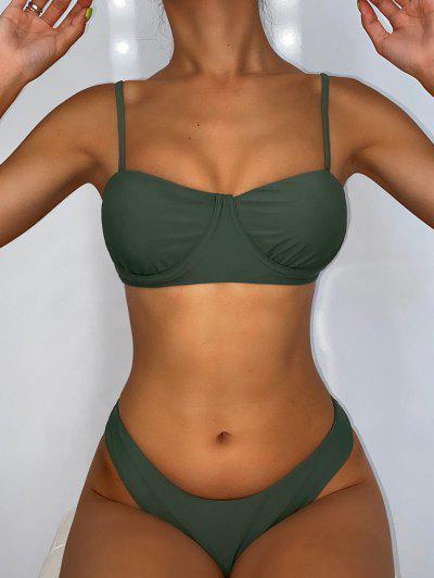 ZAFUL Back Knot Underwire Balconette Bikini Swimsuit - Camouflage Green M