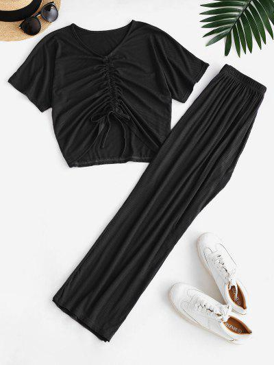 Cinched Ribbed Wide Leg Two Piece Pants Set - Black