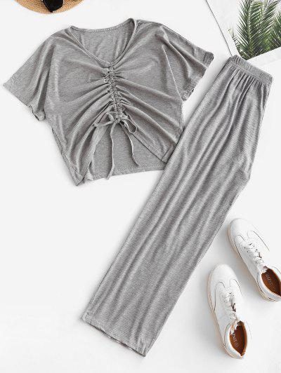 Cinched Ribbed Wide Leg Two Piece Pants Set - Gray