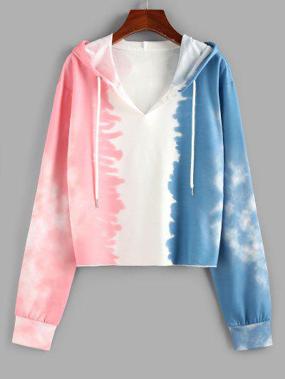 ZAFUL Tie Dye V Notch Drawstring Hoodie - Multi S