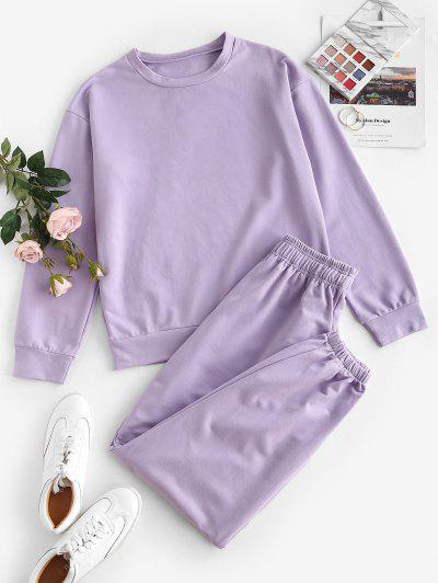 Drop Shoulder Sports Bowknot Jogger Pants Set - Light Purple M