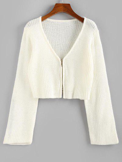 ZAFUL Cropped Zip Fly Cardigan - White S