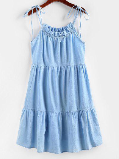 ZAFUL Robe Superposée à Bretelle Nouée à Volants - Bleu De Ciel  S