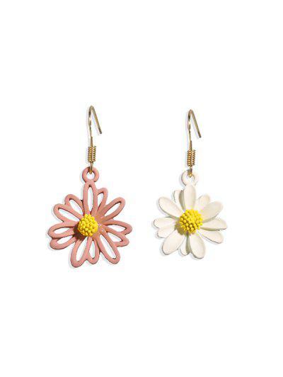 Daisy Floral Asymmetrical Hook Earrings - Multi-c