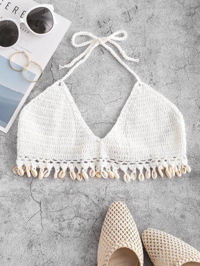 Shell Embellished Crochet Bralette Bikini Top - White S