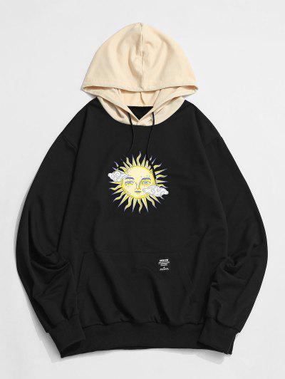 ZAFUL Celestial Sun Print Colorblock Hoodie - Black Xl