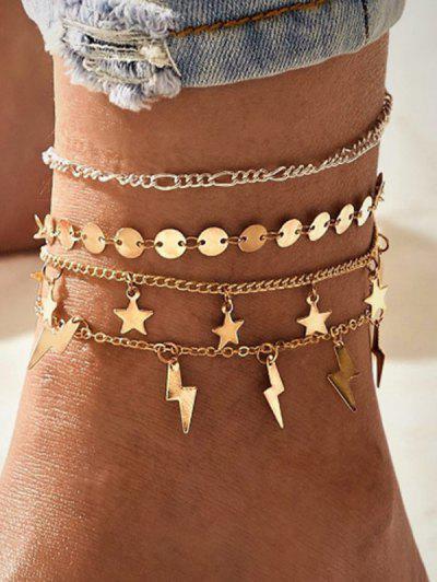4 Piece Star Lighting Disc Chain Anklets Set - Golden