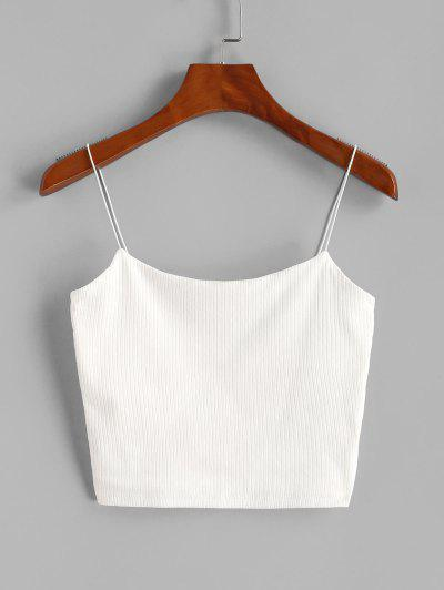 Plain Ribbed Bungee Cami Top - White S