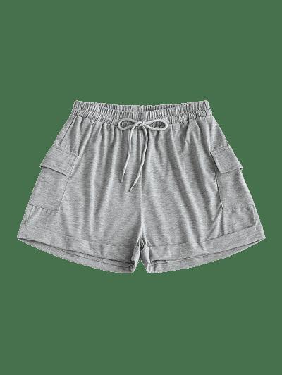Drawstring Marled Cuffed Sweat Shorts