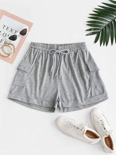 Drawstring Marled Cuffed Sweat Shorts - Gray S