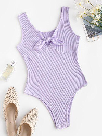 Ribbed Tied V Neck Bodysuit - Light Purple M