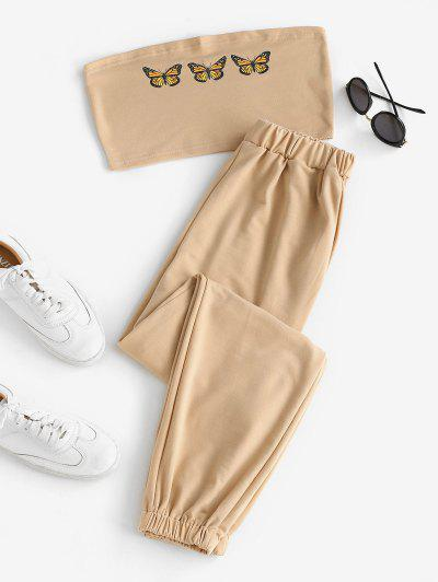 Butterfly Bandeau Top And Jogger Pants Set - Light Coffee M