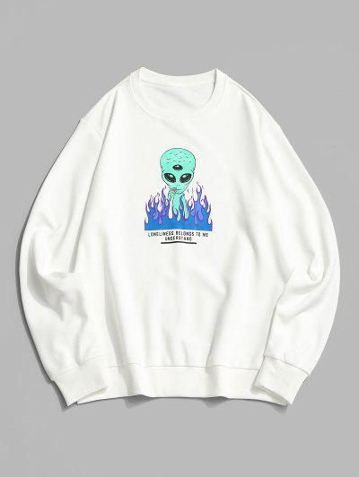 ZAFUL Fire Flame Smoking ET Letter Graphic Sweatshirt - White M
