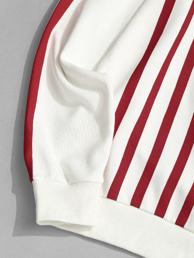 ZAFUL Contrast Stripes Letter Print Sweatshirt, White