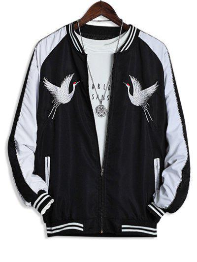 Raglan Sleeve Crane Embroidered Souvenir Jacket - Black M