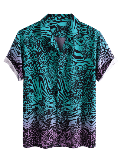 Animal Print Ombre Button Down Shirt