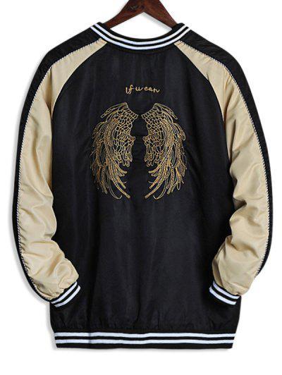 Wing Embroidery Colorblock Raglan Sleeve Souvenir Jacket - Deep Yellow M