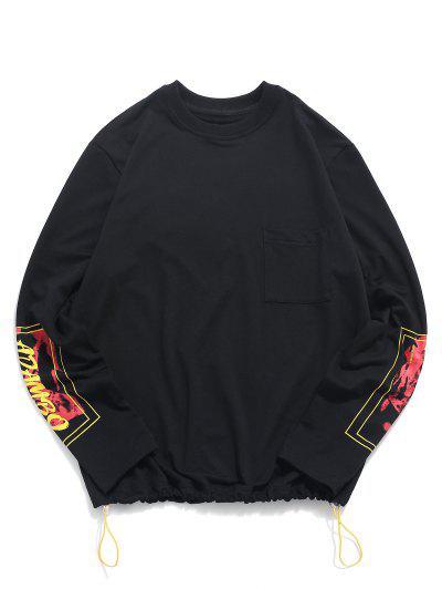 Letter Graphic Print Toggle Drawstring Pocket Sweatshirt - Black S