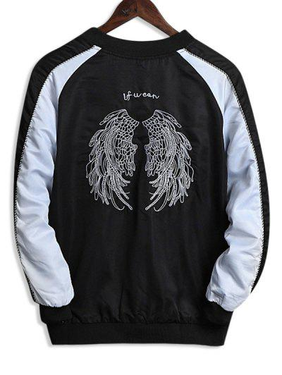 Wing Embroidery Colorblock Raglan Sleeve Souvenir Jacket - White Xs