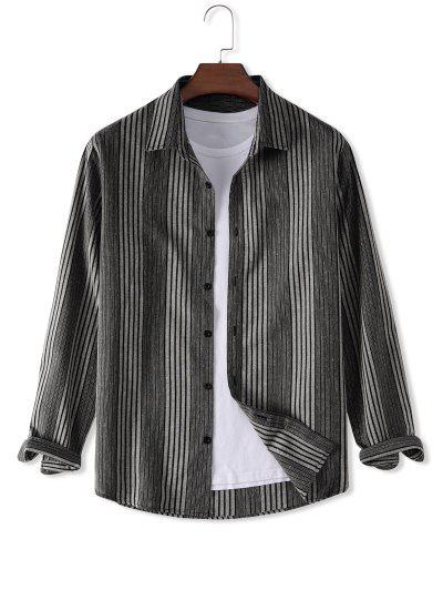 Stripes Button Down Shirt - Gray 2xl