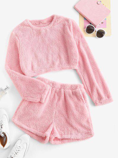 Lounge Plush Pocket Shorts Set - Light Pink S