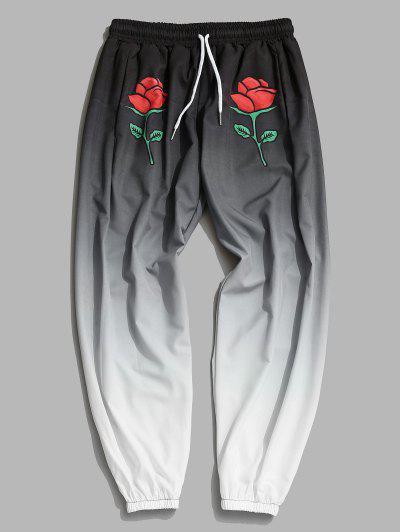 Calças Ombre Com Impressão De Rosa - Cinza De Carbono M